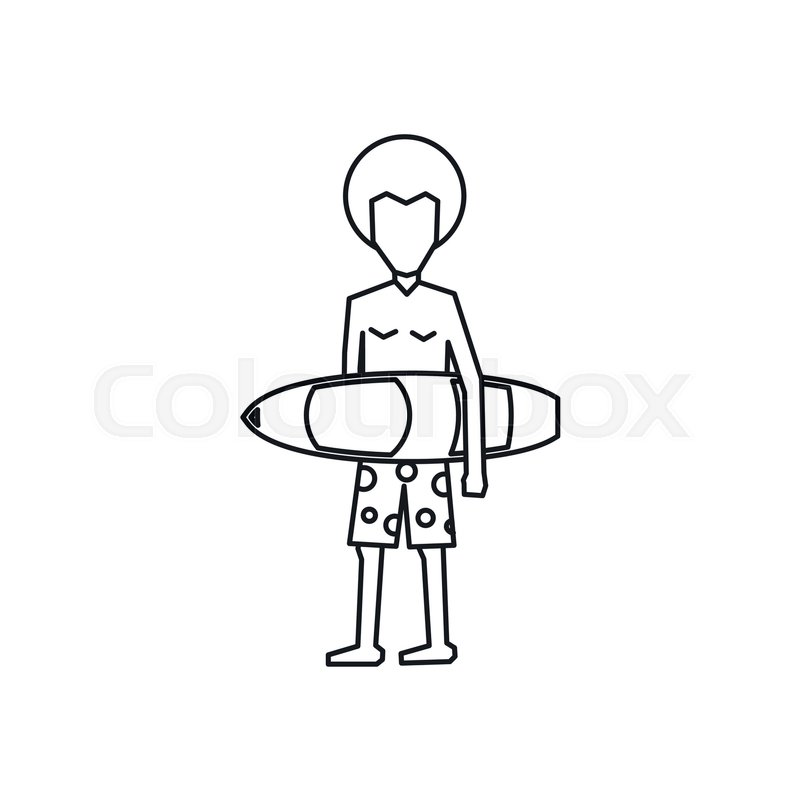 800x800 Surfer With Surfboard Icon In Outline Style Isolated On White