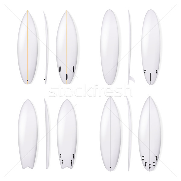 600x600 Realistic Surfboard Vector Set. White Surfing Board Template