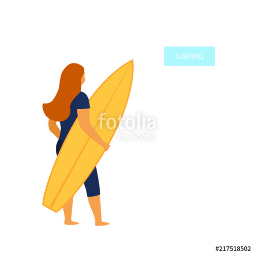 500x500 Young Woman Surfer Standing Backside With Surfboard Vector