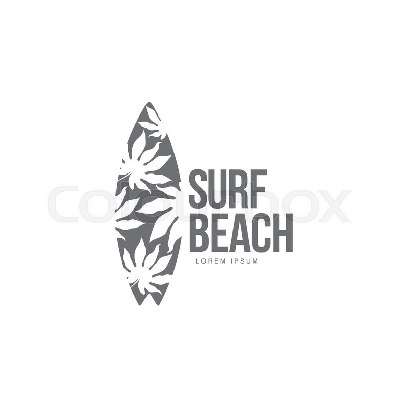 800x800 Black And White Graphic Surfing Logo Template With Palm Tree