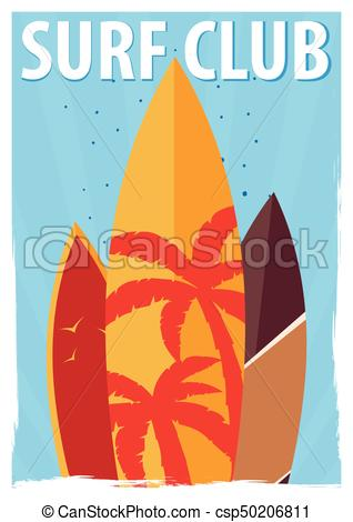 318x470 Surfing Poster For Surfing Club With Surfboards. Vector