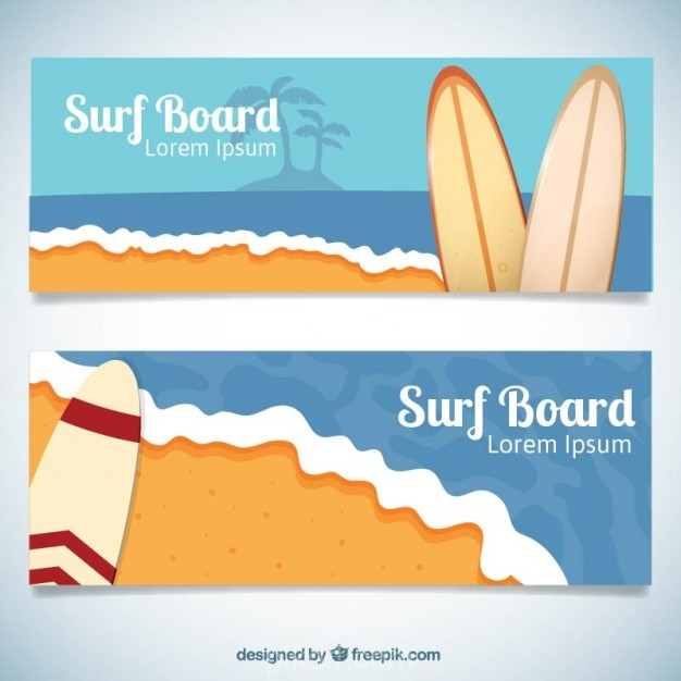 626x626 Ai] Beach Banners With Surfboards Vector Free Download
