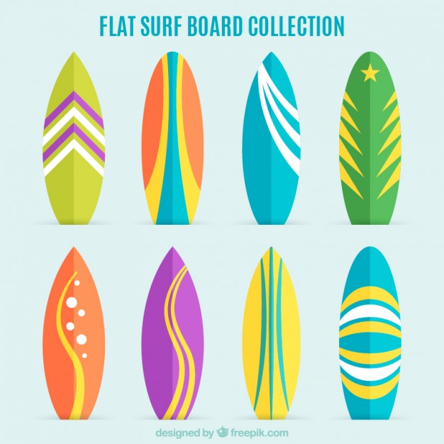626x626 Collection Of Flat And Colorful Surfboard Vector Free Download