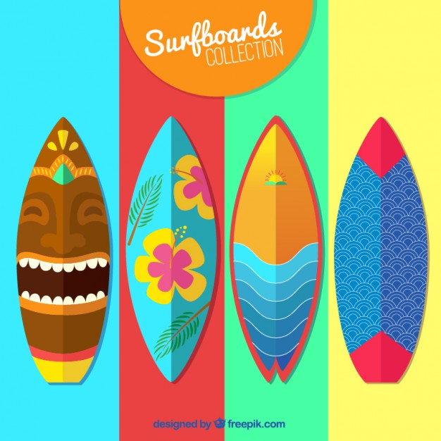 626x626 Colorful Surfboard Collection Vector Free Download
