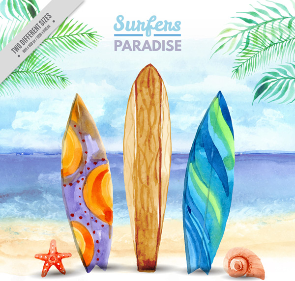 600x572 Sand On A Surfboard Vector Ai Free Download