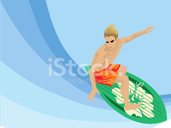 588x440 Surfista Cool Dude Stock Vector