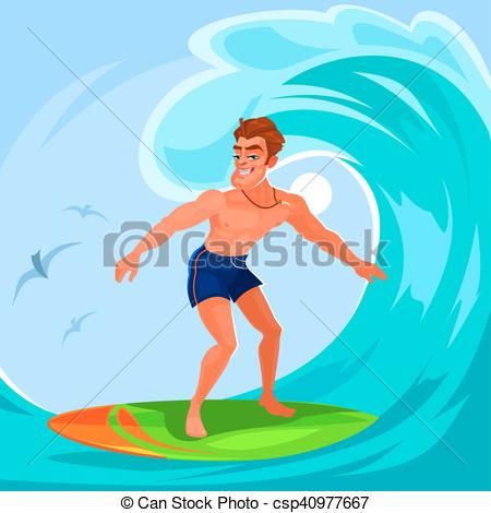 450x470 Vector Illustration Of A Surfer Riding A Big Wave.