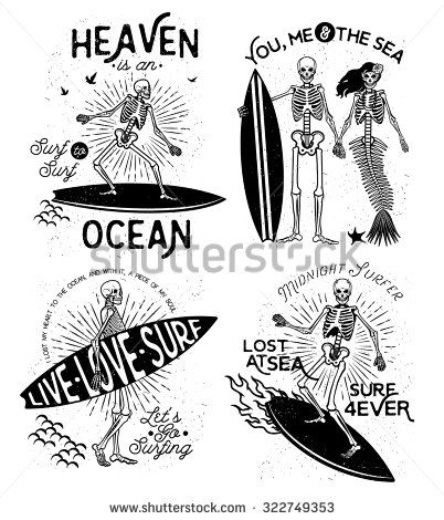 402x470 Vector Illustration With Skeleton Surfer And Mermaid