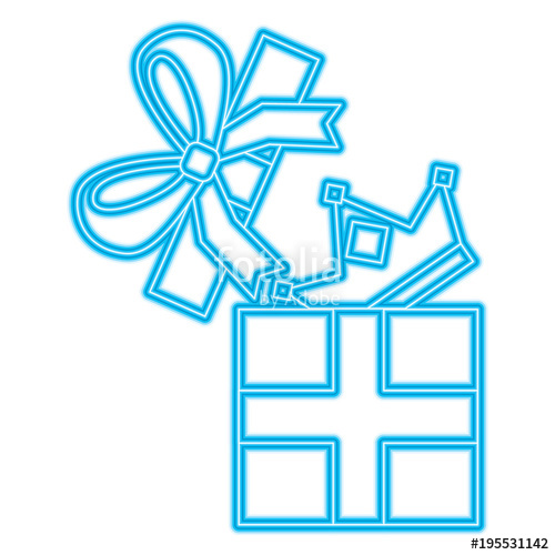 500x500 Gift Box With Crown Surprise Vector Illustration Blue Neon Stock