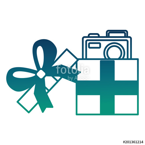 500x500 Opened Gift Box With Photo Camera Inside Surprise Vector