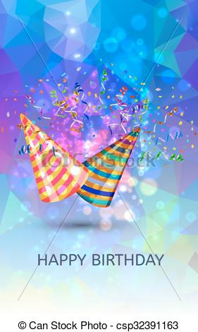 281x470 Happy Birthday Hats And Confetti Surprise Background. Vector