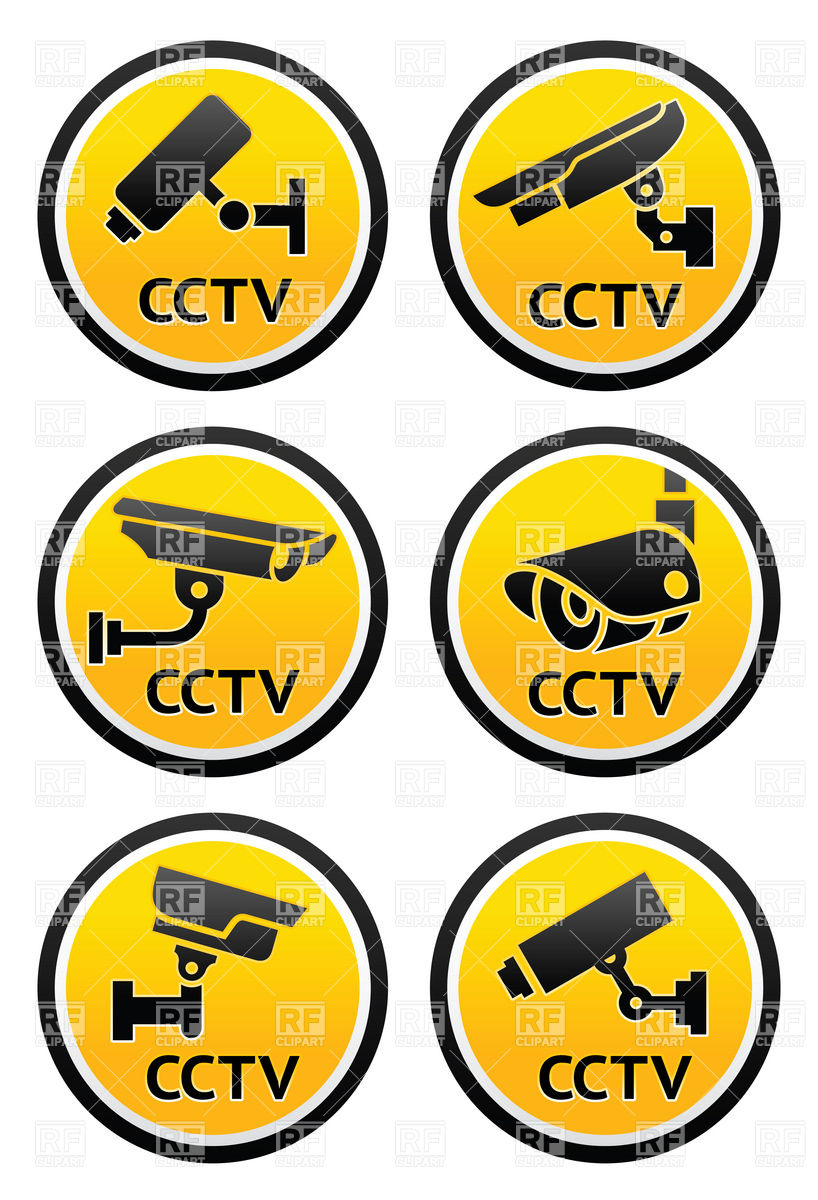 818x1200 Round Warning Labels With Cctv Camera Surveillance Icons Vector