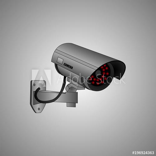 500x500 Security Surveillance Camera. Vector Video Camera. 3d Surveillance