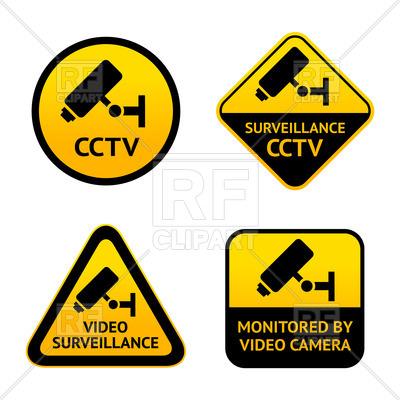400x400 Video Surveillance, Set Of Symbols Of Security Camera Vector Image