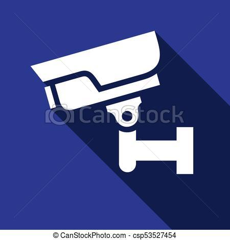 450x470 White Surveillance Camera On A Blue Square Clipart Vector