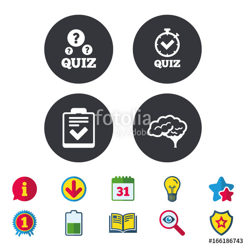 500x500 Quiz Icons. Human Brain Think. Checklist And Stopwatch Timer