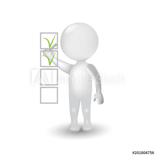 500x500 Survey 3d White People Man With Check List Icon Vector Logo