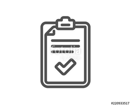 500x405 Checklist Line Icon. Survey Report Sign. Business Review Symbol
