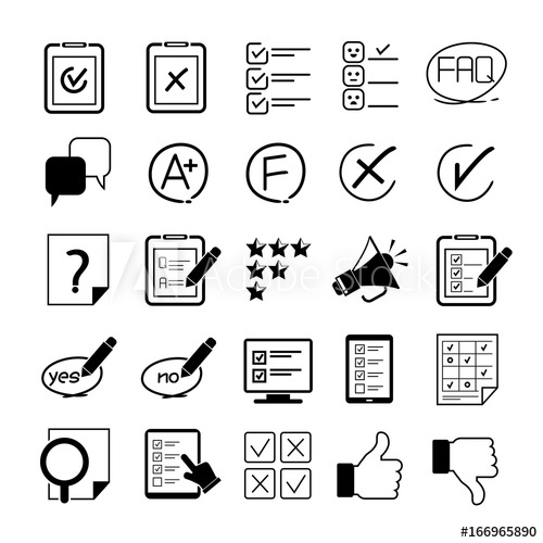 500x500 Quiz, Questionnaire, Survey Icon Set