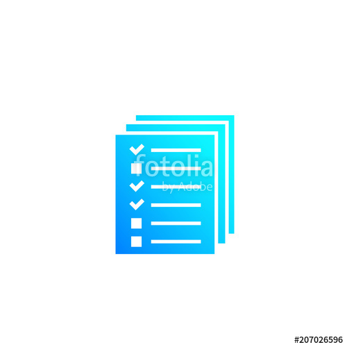 500x500 Tests, Survey Vector Icon On White Stock Image And Royalty Free