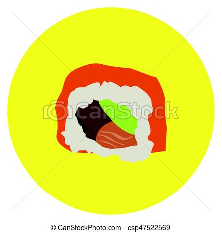 450x470 Isolated Sushi Roll On A Colored Button, Vector Illustration.