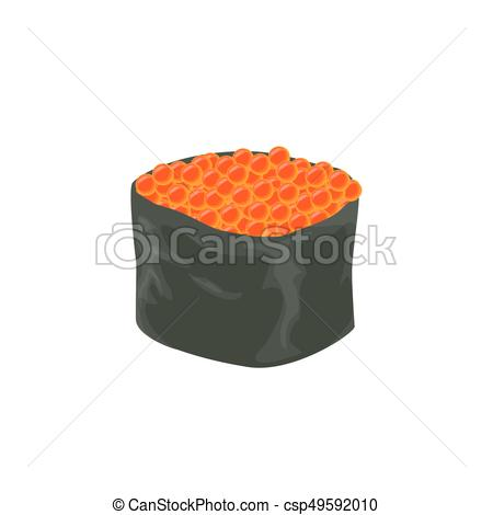 450x470 Isolated Sushi Roll. Isolated Sushi Roll With Caviar On White
