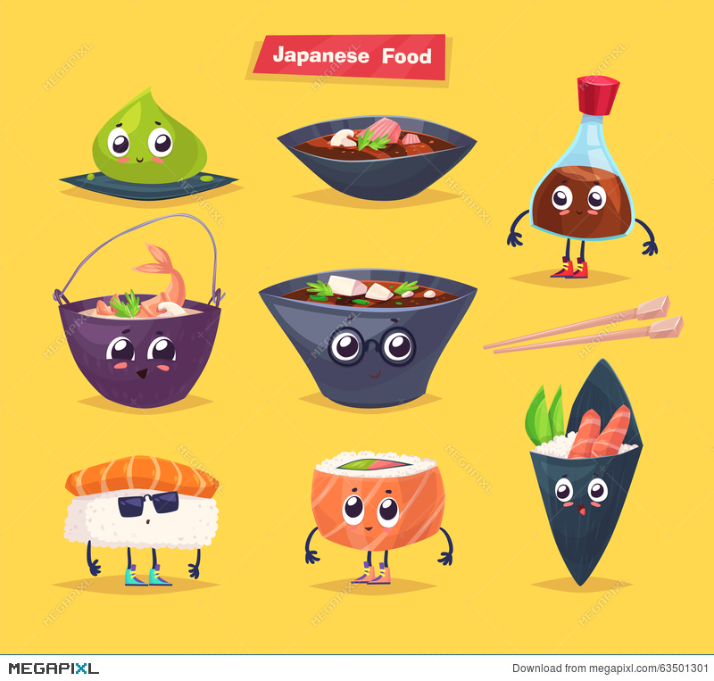 800x763 Japanese Food. Soy Sauce And Sushi Roll. Vector Illustration