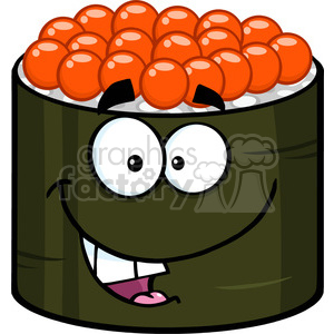 300x300 Royalty Free Illustration Funny Sushi Roll Cartoon Mascot