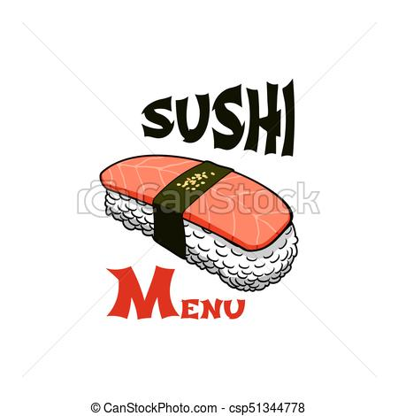 450x470 Sushi Japanese Bar Salmon Roll Vector Icon. Sushi Icon Template