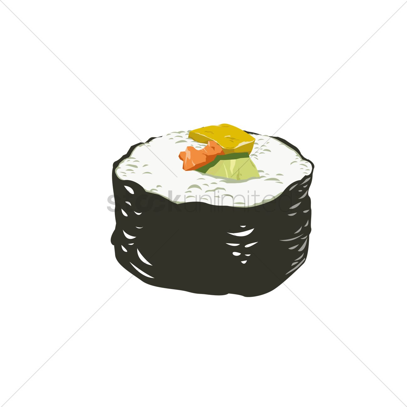 1300x1300 Sushi Roll Vector Image