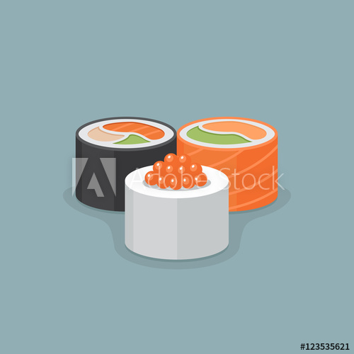 500x500 Three Sushi Roll Vector Illustration.