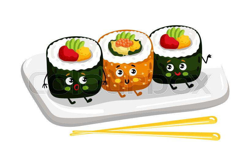 800x540 Cute Sushi Roll Set On Plate Cartoon Character Isolated On White