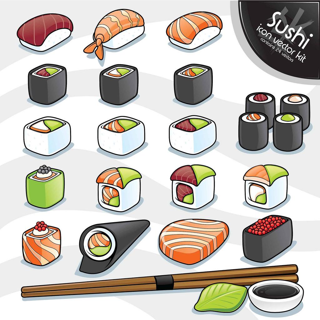1024x1021 Sushi Vector Kit I Love Sushi ) Part A Series