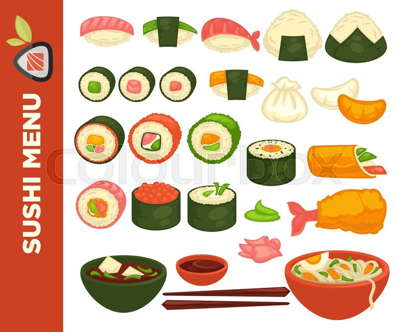 800x668 Sushi Bar Or Japanese Restaurant Icons For Menu. Vector Set Of