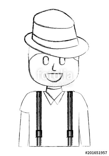348x500 Hipster Man Wearing Hat And Suspenders Vector Illustration Sketch