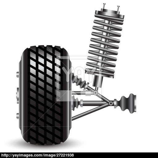 512x512 Front Car Suspension, Frontal View. Vector