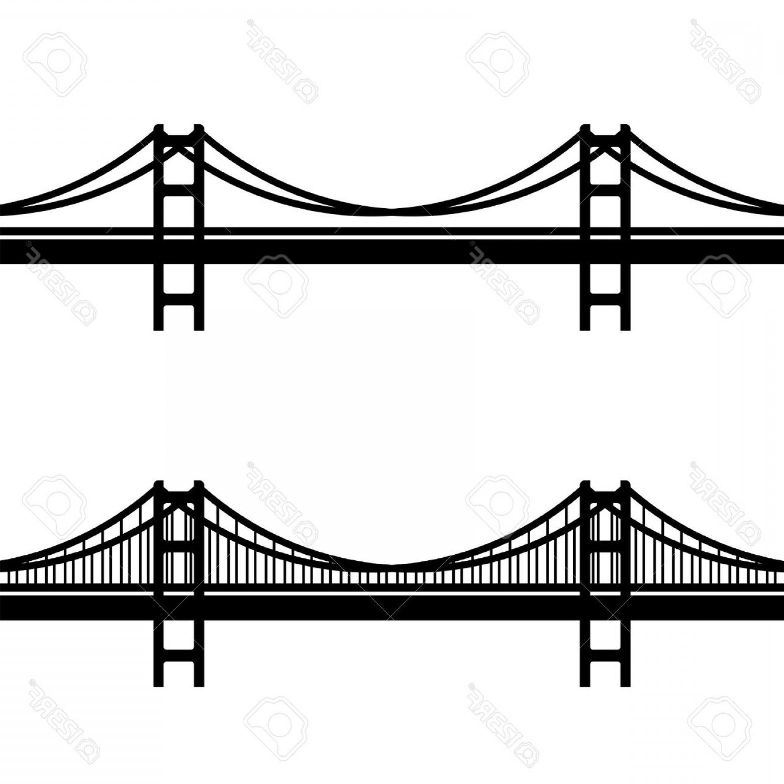 1560x1560 Photostock Vector Vector Metal Cable Suspension Bridge Black
