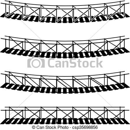450x449 Simple Rope Suspension Hanging Bridge Black Symbol