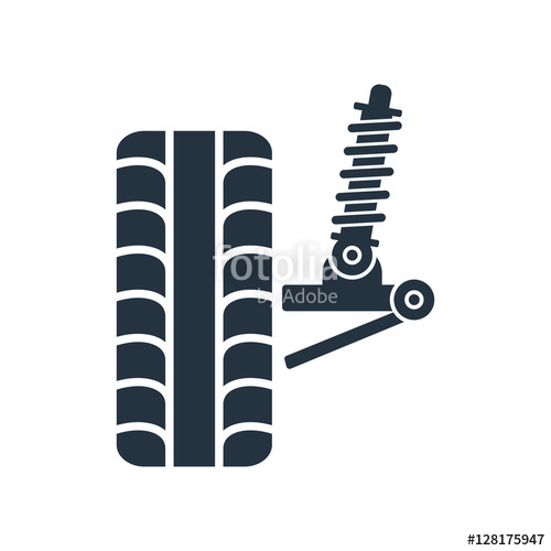 500x500 Car Suspension, Wheel Front, Tire, Isolated Icon On White Backgr