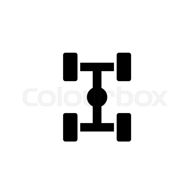 800x800 Chassis Car Suspension. Flat Vector Icon. Simple Black Symbol On
