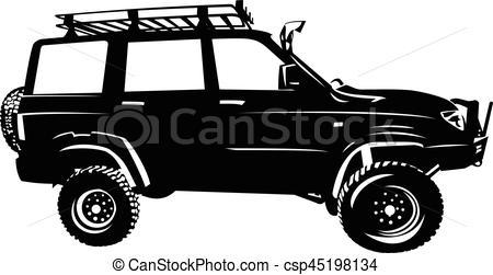 450x251 Offroad Car Silhouette. Offroad Car 4x4 Suv Vector Silhouette.