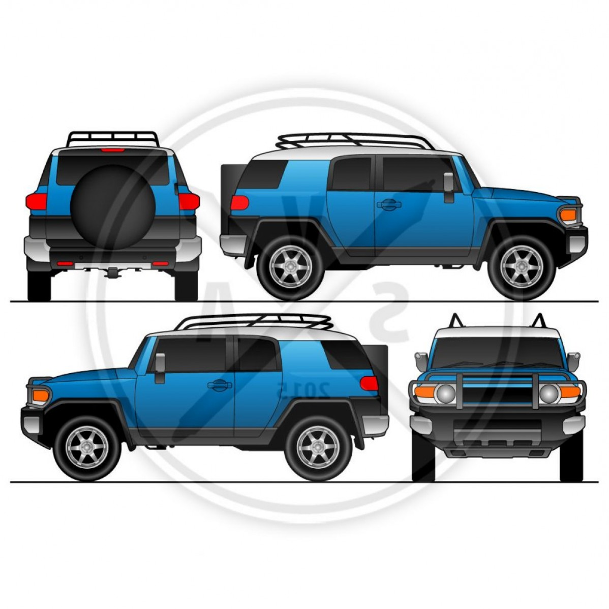 1198x1198 Vehicle Outline Fj Cruiser Suv Vector Art Arenawp