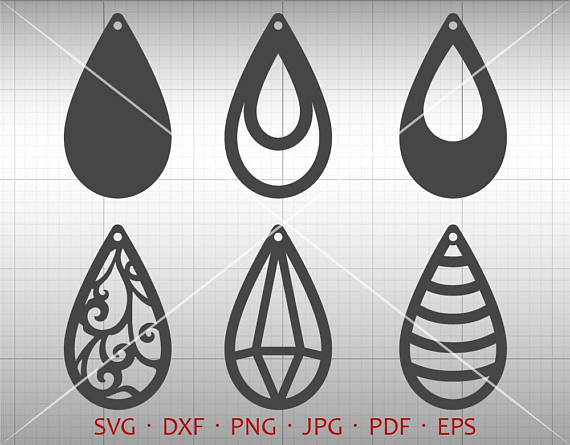 570x445 Tear Drop Svg, Pendant Svg, Vector Dxf, Leather Earring Jewelry