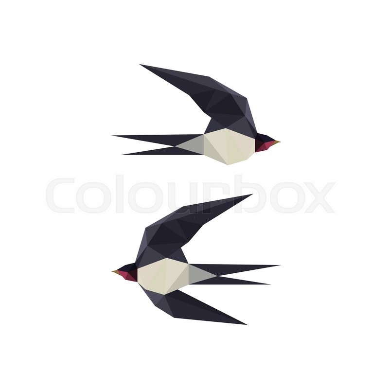 800x800 Illustration With Origami Swallow Birds On White Background