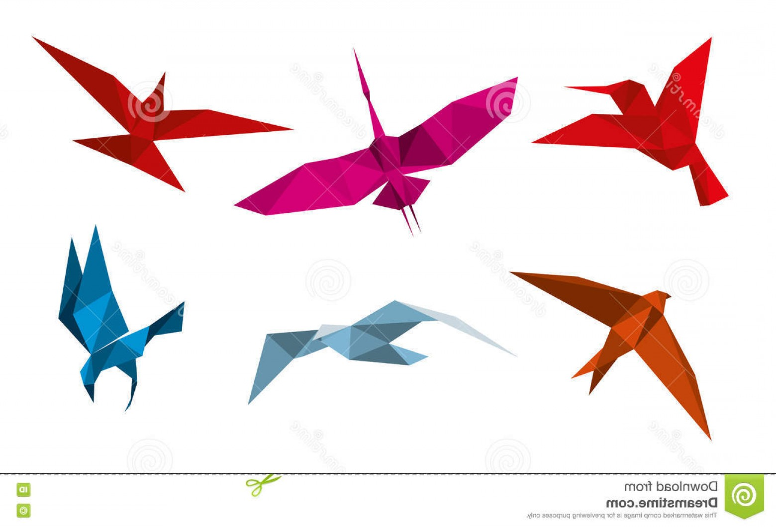 1560x1060 Stock Illustration Vector Origami Birds Flight Animal Dove Bird