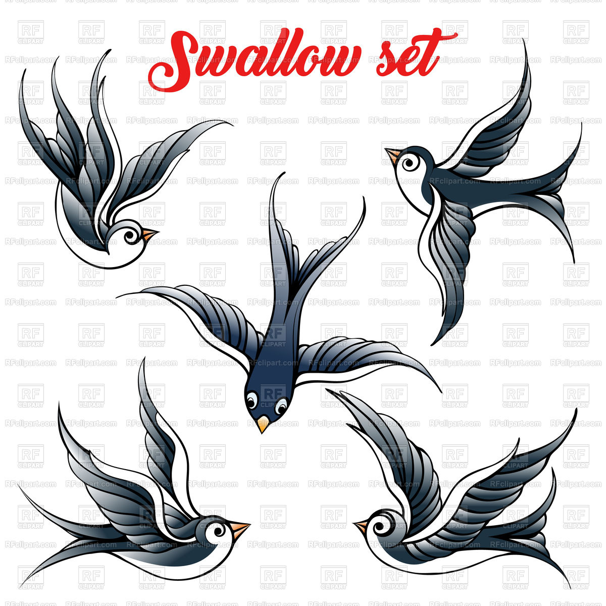 1200x1200 Set Of The Swallow Vector Image Vector Artwork Of Plants And