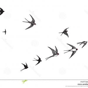 300x300 Stock Illustration Flock Birds Swallows Go Up Black Silhouette