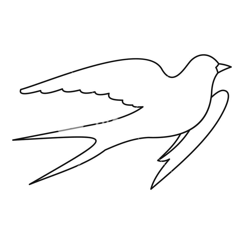 1000x1000 Swallow Icon. Outline Illustration Of Swallow Vector Icon For Web