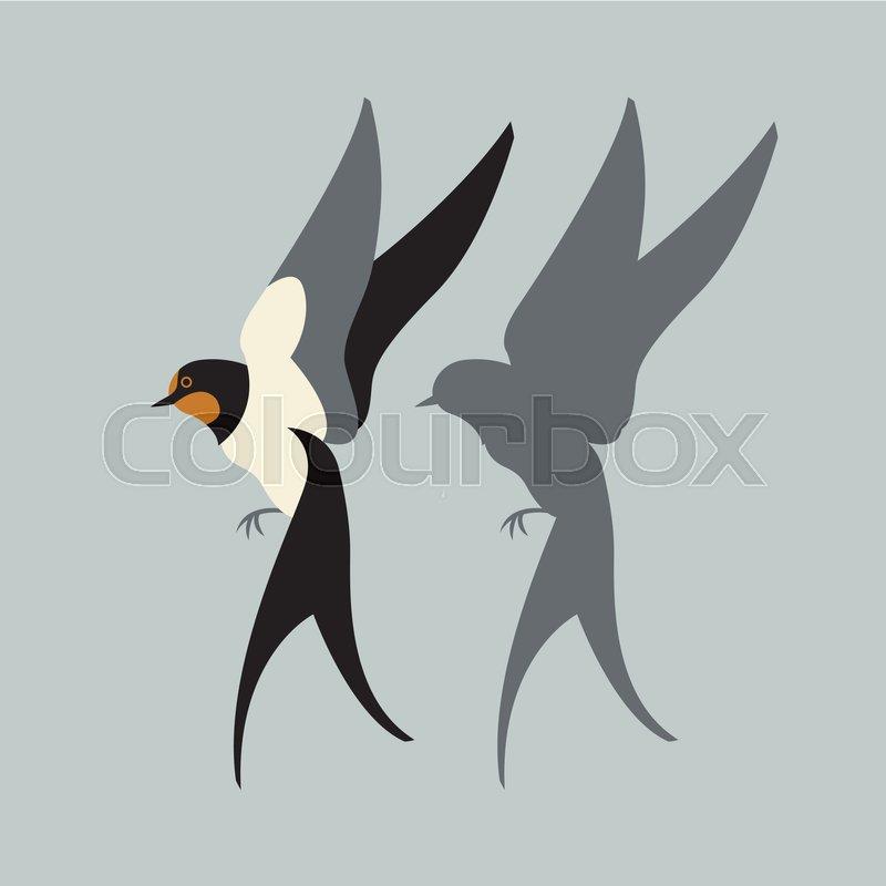 800x800 Swallow Vector Illustration Style Flat Set Black Silhouette