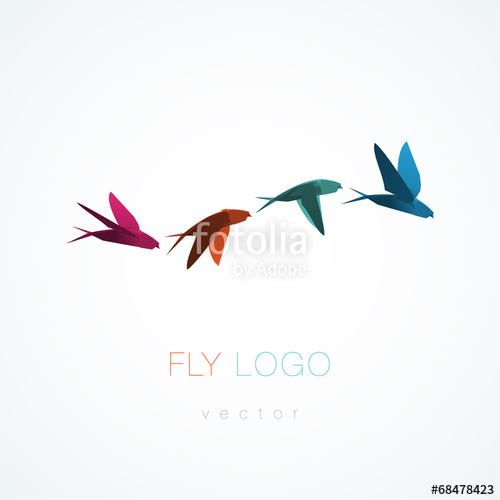 500x500 Origami Flying Swallow Vector Stock Image And Royalty Free Vector